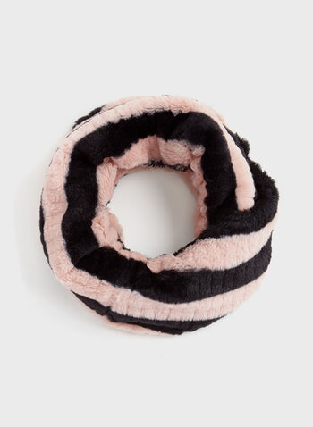 Chenille Faux Fur Tube Scarf, Pink, hi-res