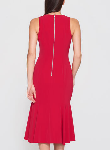 Ruffle Hem Sheath Dress, Red, hi-res