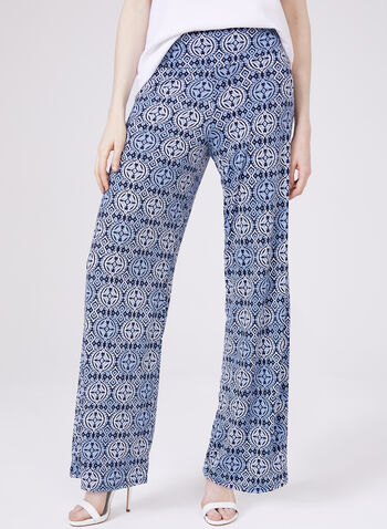 Ariella - Wide Leg Pull-On Pants, Blue, hi-res