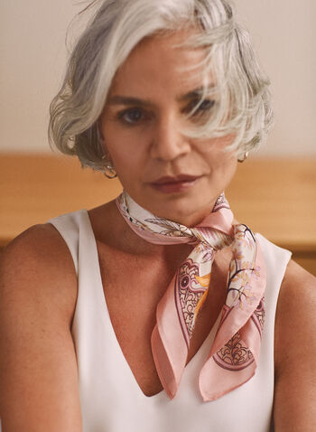 Foliage Print Neckerchief, Pink,  accessories, scarf, lightweight, floral, foliage, silk, spring summer 2021