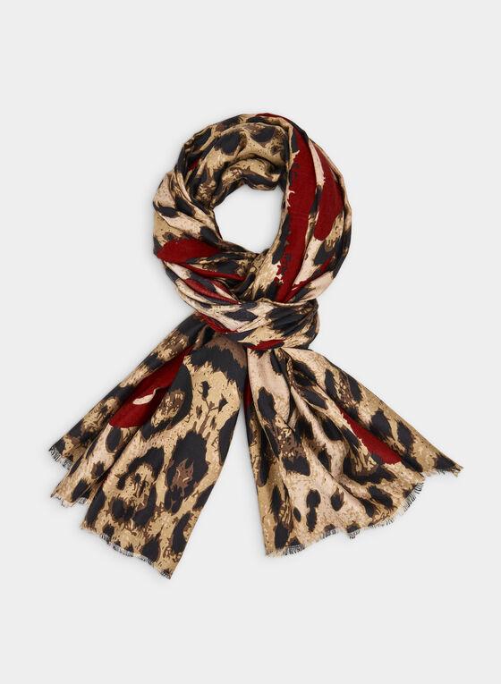Foulard léger motif léopard et cœur, Rouge, hi-res