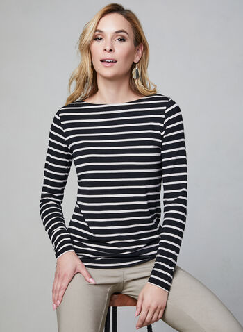 Stripe Print Top, Black, hi-res,  top, long sleeves, boat neck, stripe print, fall 2019
