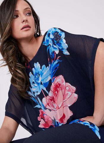 Blouse poncho à fleurs en mousseline , Bleu, hi-res