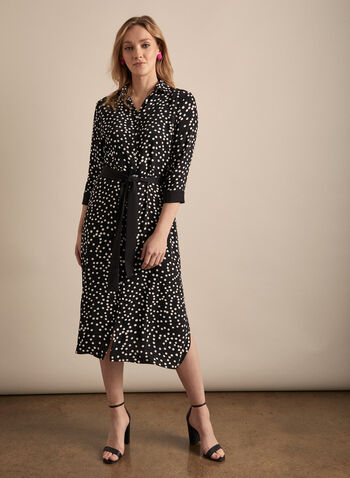 Joseph Ribkoff - Polka Dot Shirt Dress, Black,  dress, midi, polka dot, shirt dress, long sleeves, button front, cinched, stretchy, spring summer 2020