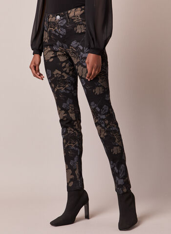 Floral Print Slim Leg Jeans, Black,  fall winter 2020, jeans, pants, floral print, slim leg, slim fit, mid rise, pocket, zip, button, soft, comfort, stretch, denim