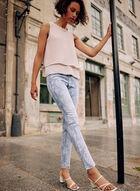 Paisley Print Slim Leg Jeans, Blue