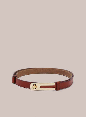 Turnlock Buckle Belt, Brown,  belt, thin, turnlock, adjustable, leather, fall winter 2020