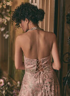 Cachet - Robe à fleurs pailletées, Rose