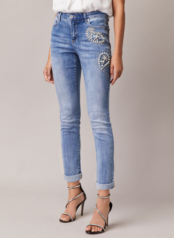 Pearl & Rhinestone Detail Jeans, Blue,  jeans, slim, worn, pearls, rhinestones, pockets, denim, spring summer 2020