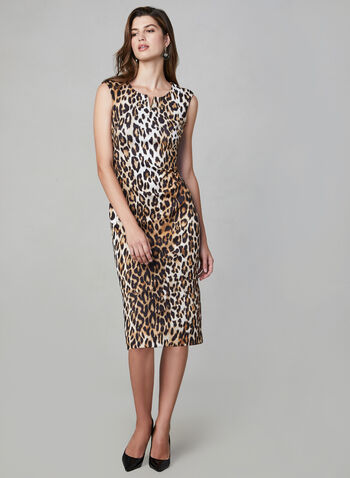 Frank Lyman - Leopard Print Cocktail Dress, Black, hi-res,  Animal print S/L sheath dress w/v shape gold trim at neckline-Black/Camel