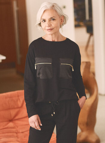 Long Sleeve Zipper Detail Top, Black,  top, round neck, long sleeves, satin, chest pockets, zipper, jersey, spring summer 2021