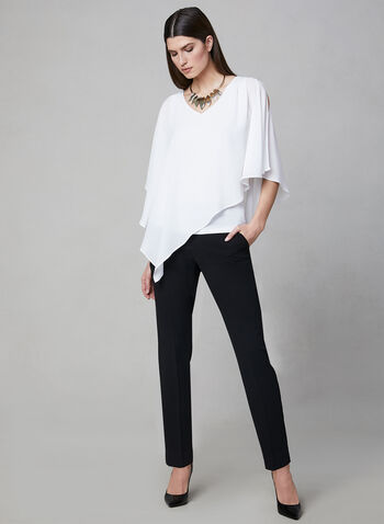 Asymmetrical V-Neck Blouse, Off White, hi-res