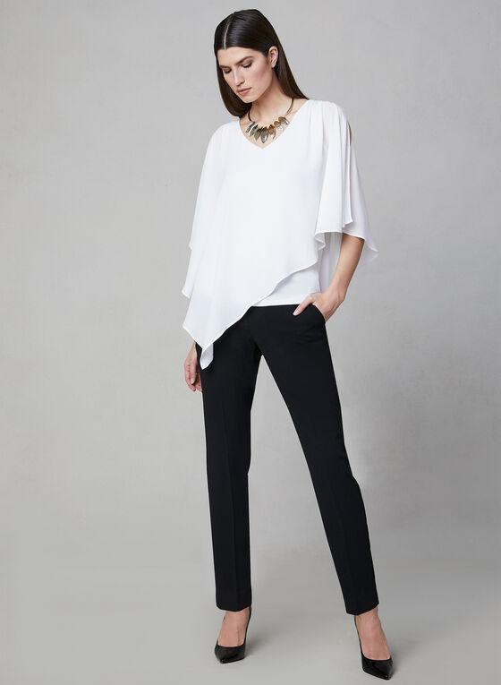 Asymmetrical V-Neck Blouse, Off White, hi-res