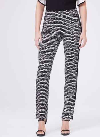Pantalon pull-on à jambe droite avec motif contrastant, Noir, hi-res