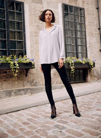 Jean à jambe étroite en denim doux, Noir,  pantalon, jean, taille mi-haute, jambe étroite, bouton, glissière, poches, rivets métalliques, denim extensible, automne 2021