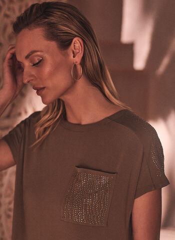 Rhinestone Embellished T-Shirt Dress, Green,  dress, day, shirt, t-shirt, tee, pocket, rhinestone, embellished, short sleeves, spring summer 2021