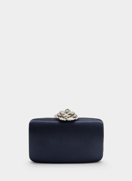 Pochette satinée à fermoir fleur, Bleu