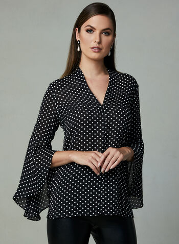Polka Dot Print Blouse, Black, hi-res