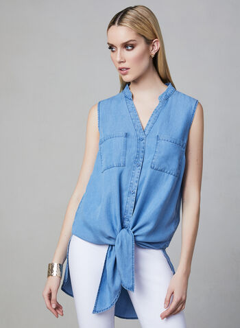 Sleeveless High-Low Top, Blue, hi-res