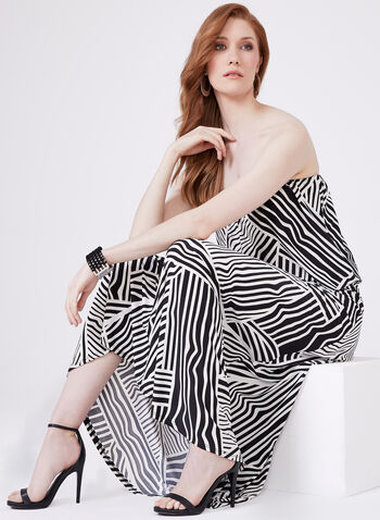 Ariella - Robe maxi à motif graphique et épaules dénudées, Noir, hi-res