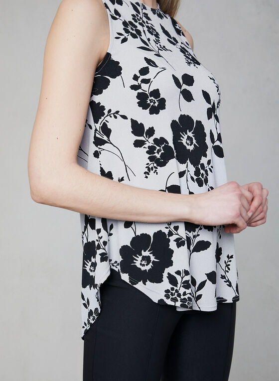 Floral Print Sleeveless Top, Grey