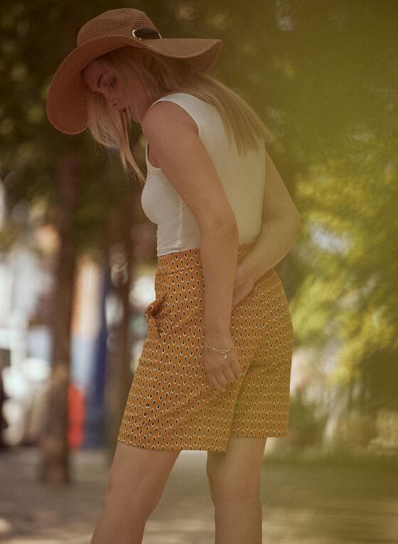 Oval Print Crepe Shorts, Yellow