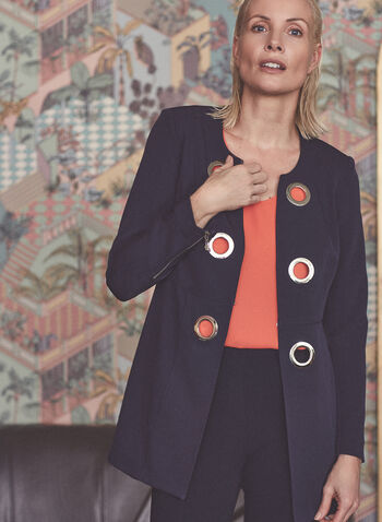Vex - Redingote Style Blazer, Blue,  vex, spring summer 2021, stretchy fabric, long sleeves, grommet details