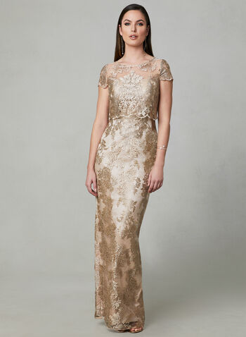 Adrianna Papell - Embroidered Illusion Dress, Gold, hi-res,