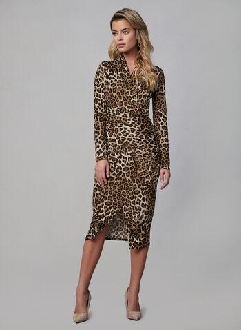 Joseph Ribkoff - Leopard Print Wrap Dress, Brown, hi-res,  joseph ribkoff, wrap dress, leopard print, long sleeves, pleating, fall 2019, winter 2019
