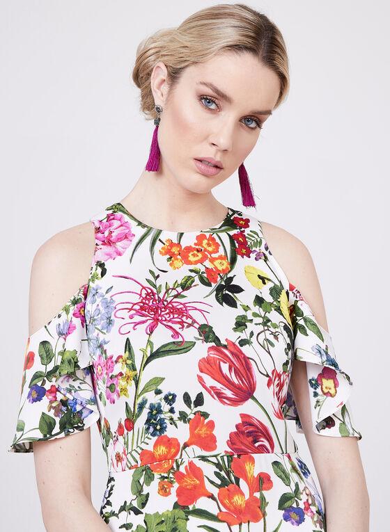Maggy London - Floral Print Cold Shoulder Dress, Multi, hi-res