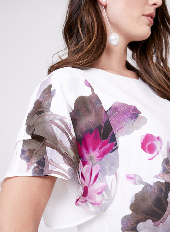 Floral Print Ruffle Sleeve Blouse, White, hi-res