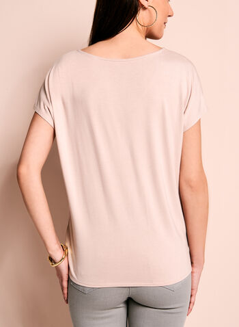 Short Sleeve V-Neck Top, Pink, hi-res
