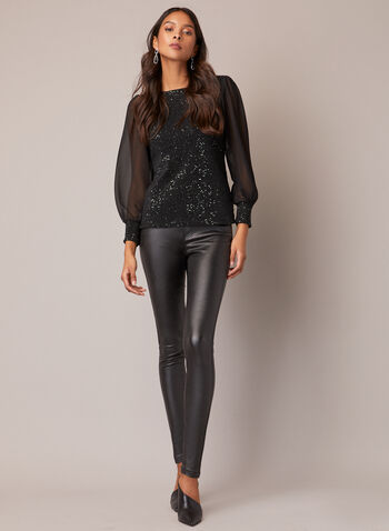 Haut bi-matière à sequins, Vert,  automne hiver 2020, haut, blouse, manches longues, manches bouffantes, mousseline, sequins, strass, paillettes