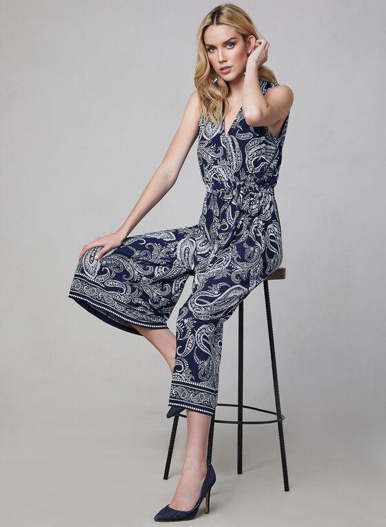 Sandra Darren - Paisley Print Jumpsuit, Blue, hi-res