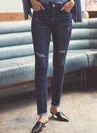 Jeans à jambe étroite et effet usé, Bleu