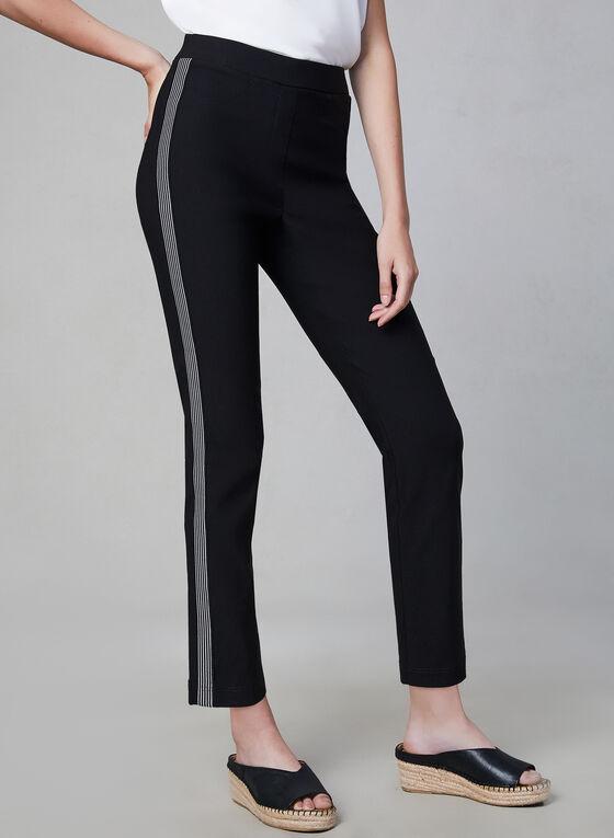 Contrast Trim Slim Leg Pants, Black, hi-res