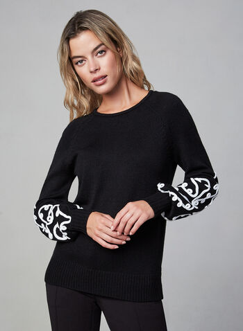 Soutache Sweater, Black, hi-res,  embroidery, long sleeves, knit, crew neck, fall 2019, winter 2019