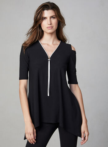 Cold Shoulder Crepe Top, Black, hi-res,  Canada, top, cold shoulder, elbow sleeves, asymmetrical, V-neck, zipper, crepe, fall 2019, winter 2019