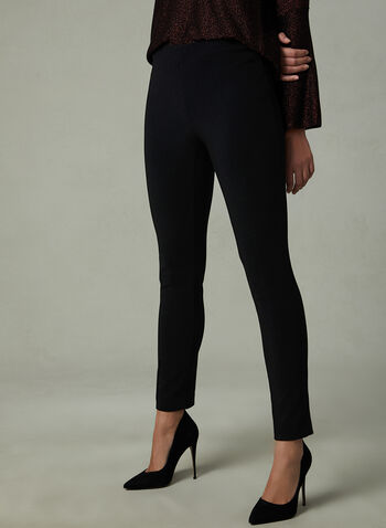 Elastic Waist Leggings, Black, hi-res