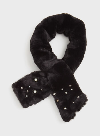 Beaded Faux Fur Scarf, Black, hi-res