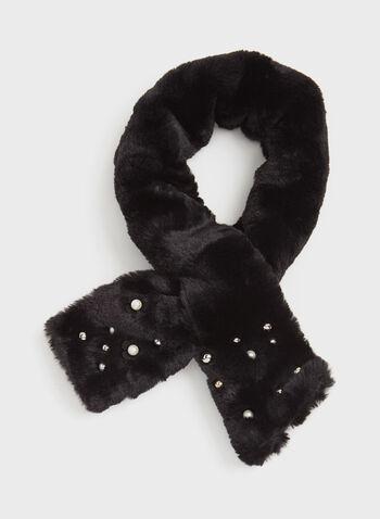 Écharpe simili fourrure et perles avec passant , Noir, hi-res