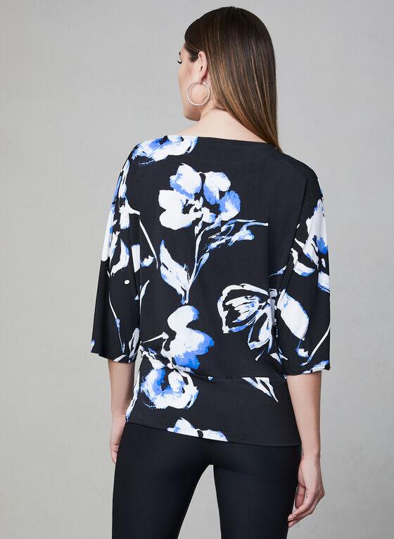 Floral Print ¾ Sleeve Top, Blue, hi-res