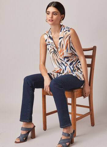Watercolour Leaf Print Blouse, White,  top, blouse, v-neck, button front, sleeveless, leaf print, water colour, crepe, notch collar, spring summer 2021
