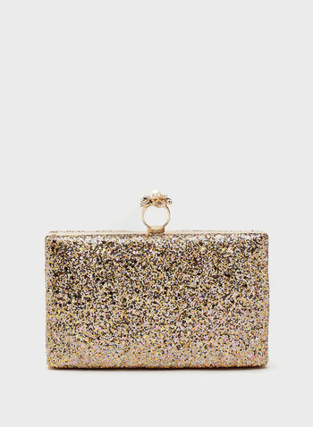 Metallic Glitter Ring Clasp Clutch, Brown, hi-res