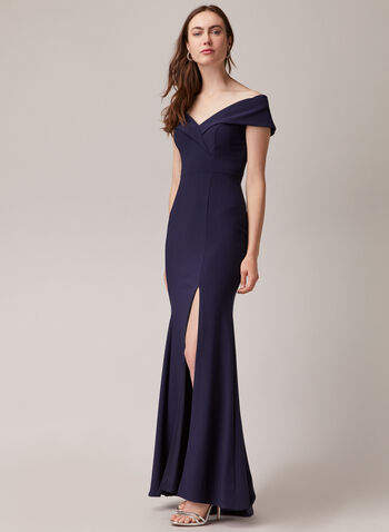 BA Nites - Off-the-Shoulder Mermaid Dress, Blue,  evening dress, occasion, off-the-shoulder, mermaid, high slit, spring summer 2020