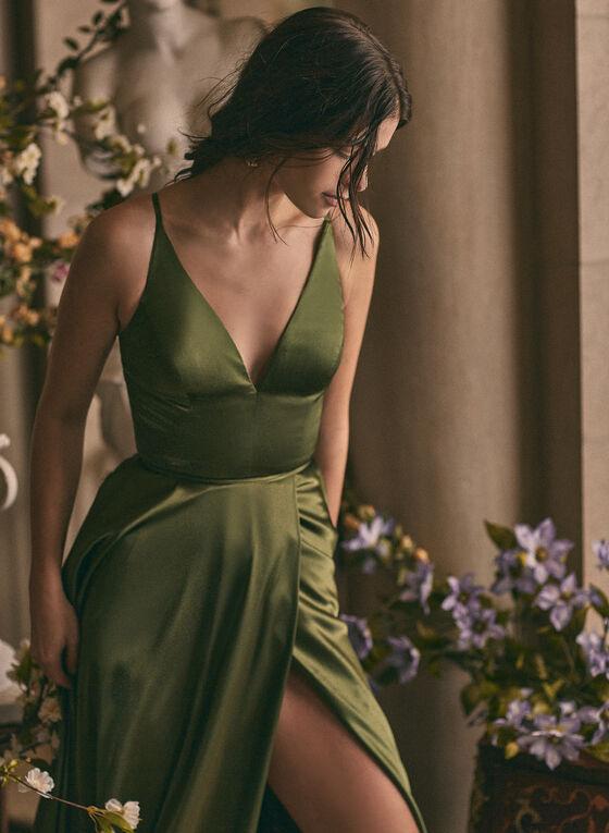 BA Nites - V-Neck Satin Dress, Green