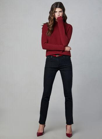 Pull texturé à col cheminée, Rouge,  manches longues, détail zippé, fermeture éclair, automne hiver 2019