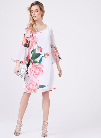 Frank Lyman – Floral Print Crystal Trim Dress, Pink, hi-res