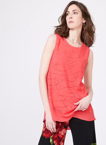 Vex - Sleeveless Crepe Blouse , Orange, hi-res