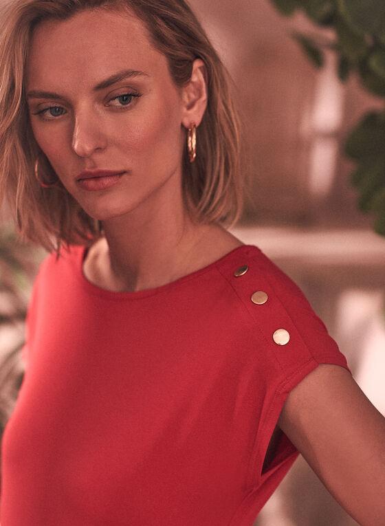 Robe courte avec boutons décoratifs à l'épaule, Rouge